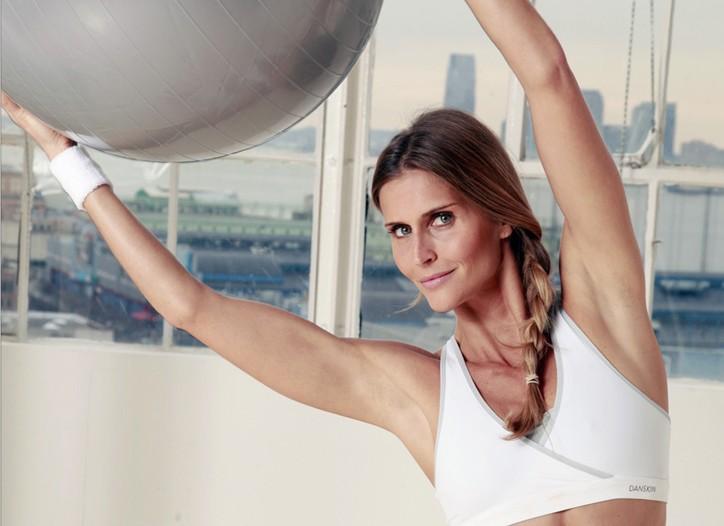 Danskin's surplice sports bra and low-rise bottoms.