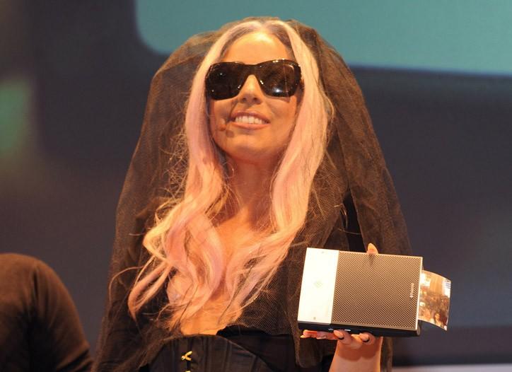 Lady Gaga and her mobile printer for Polaroid.