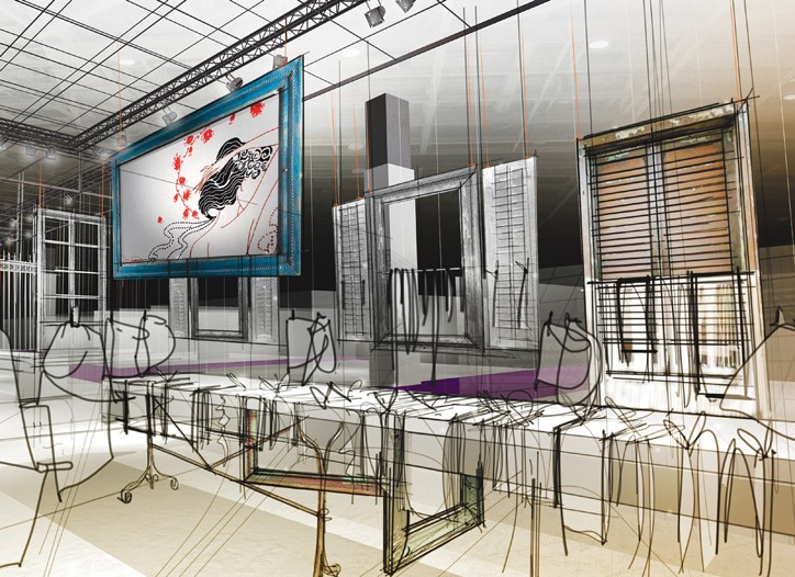 A rendering of the forum at the Interfilière innerwear and swimwear textiles salon.