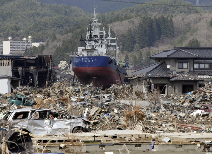 A fishing vessel in Kesennuma, Miyagi prefecture, Japan, on Thursday, April 28, 2011.
