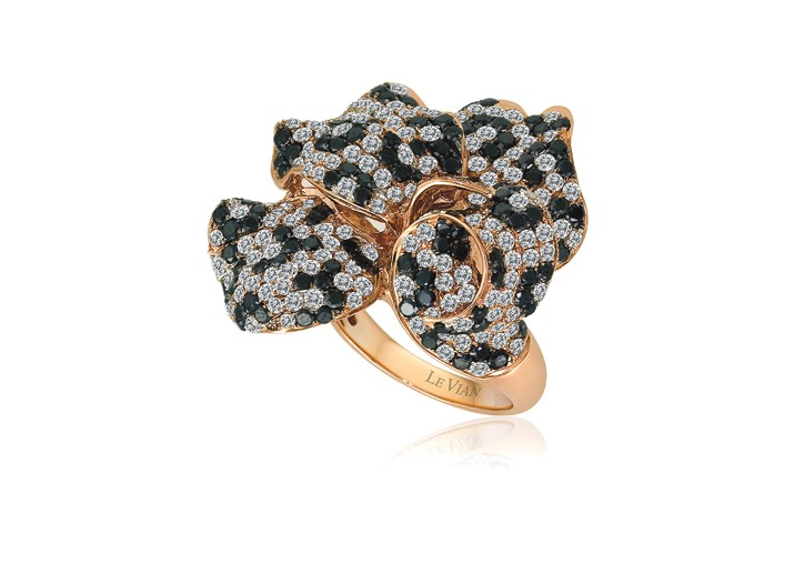 LeVian flower ring with black and white diamonds.