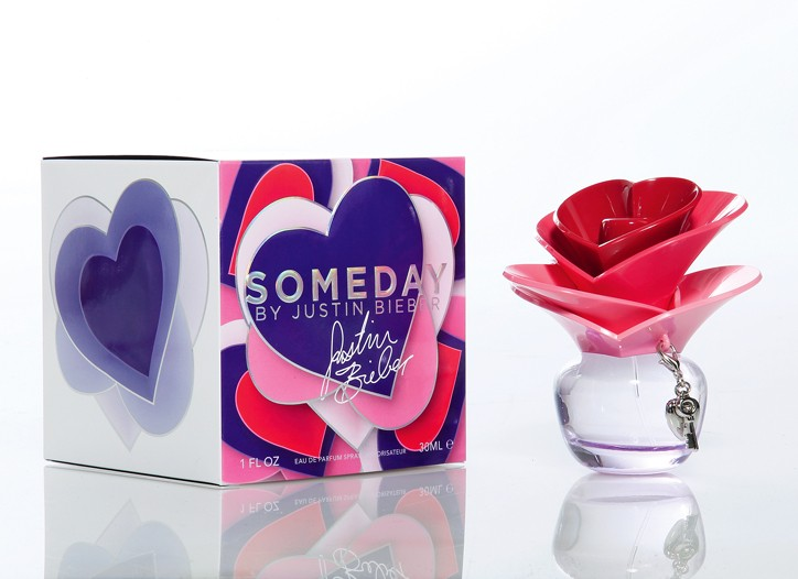 The box and bottle for Someday by Justin Beiber.