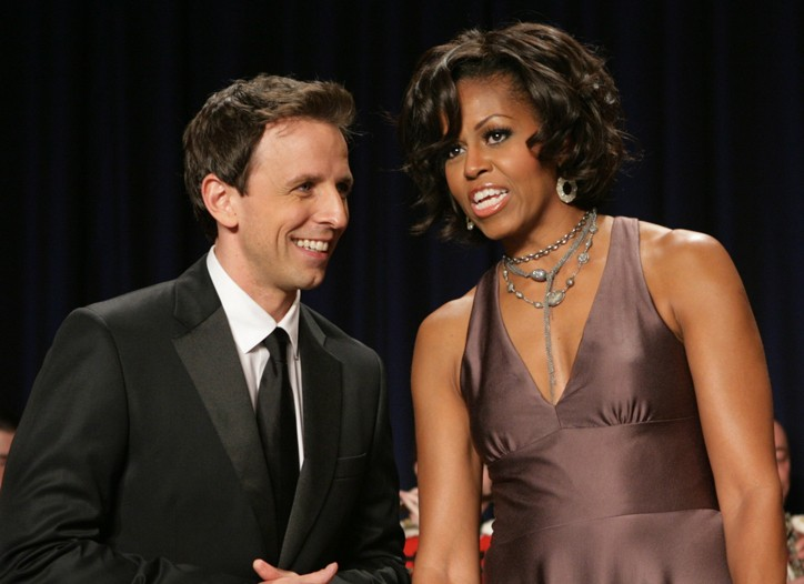 Seth Meyers with Michelle Obama