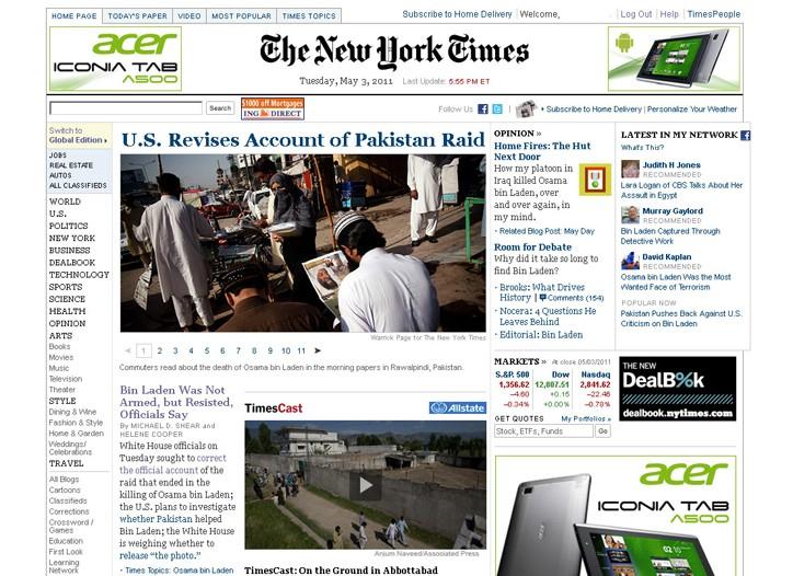 Nytimes.com homepage