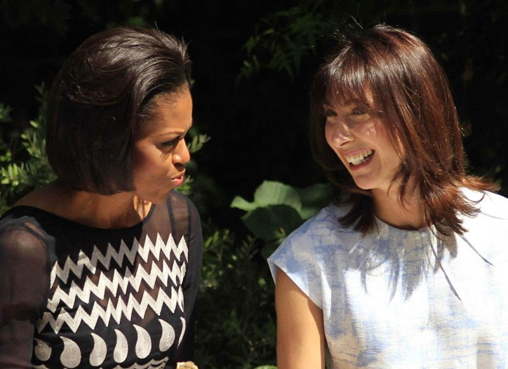 Michelle Obama and Samantha Cameron at the Downing Street barbecue.