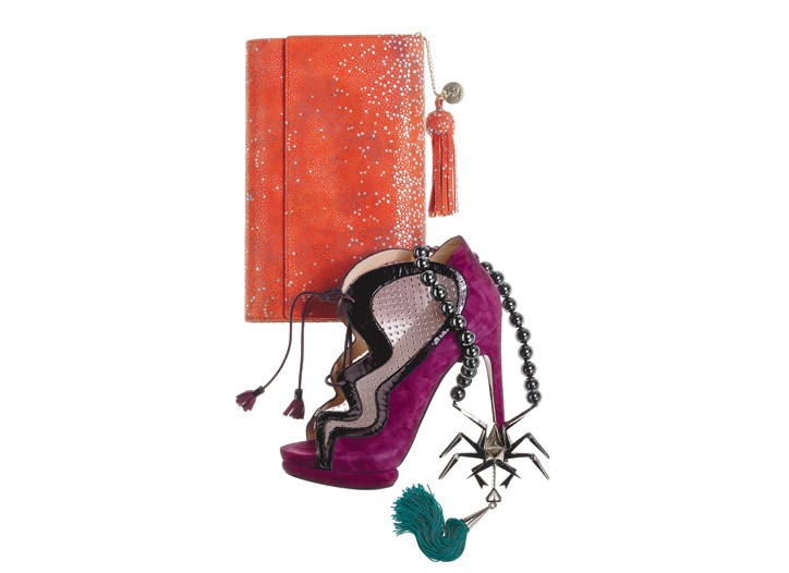 Katherine Kwei's embossed leather clutch; Nicholas Kirkwood's suede, patent leather and mesh bootie, and Eddie Borgo's sterling silver-plated brass necklace with hematite beads and a silk tassel.
