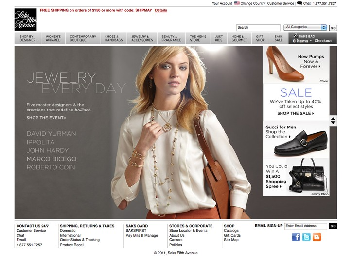 A view of the Saks Web site.