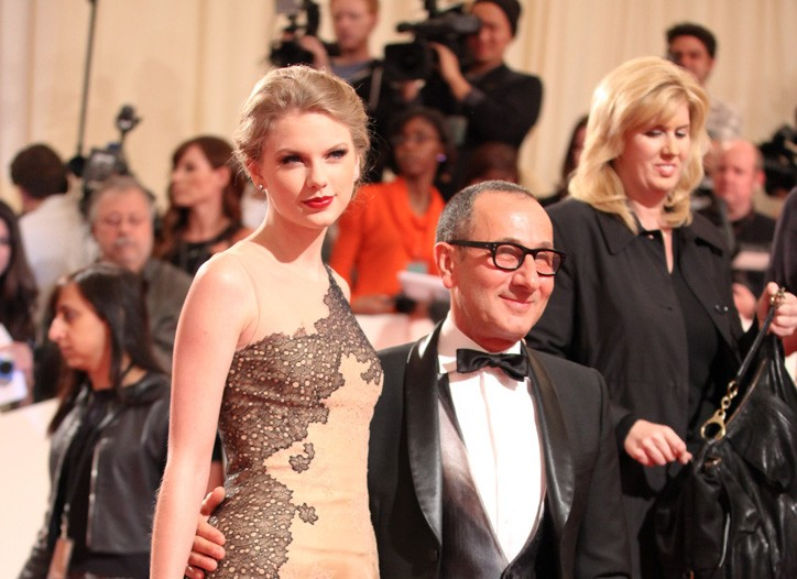 Gilles Mendel with Taylor Swift in one of his designs at the Costume Institute gala.