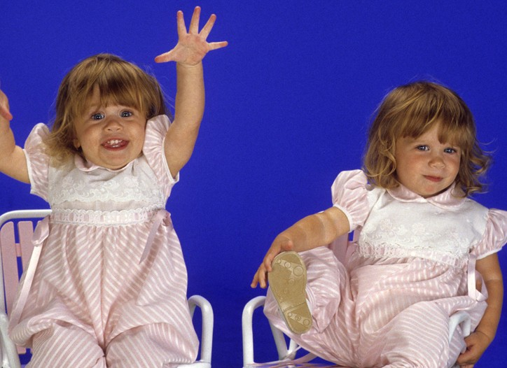 """Ashley and Mary-Kate Olsen on the """"Full House"""" set in 1988."""
