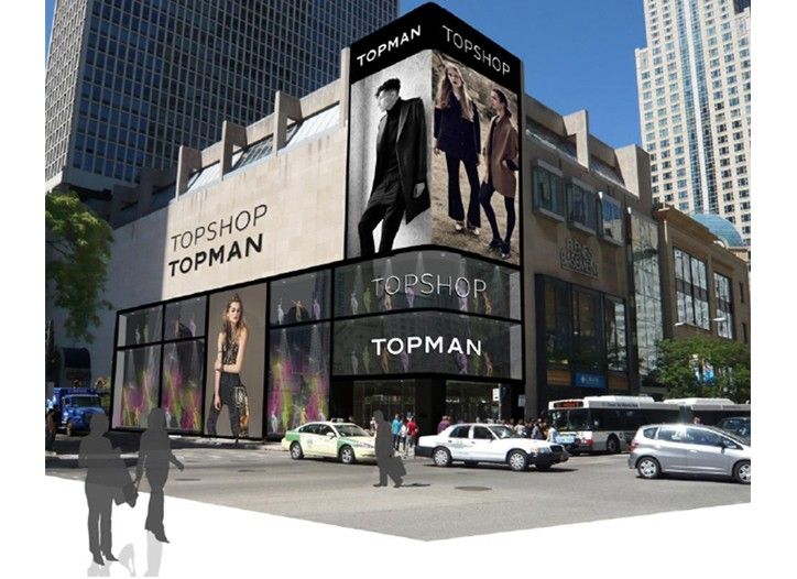 A rendering of Topshop on Michigan Avenue in Chicago.