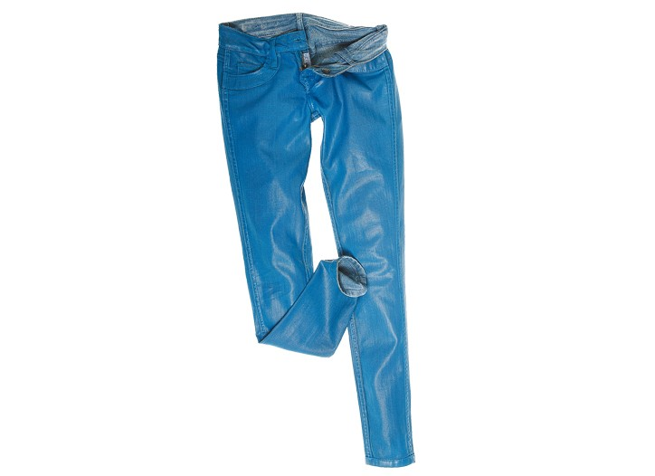 Bleulab's cotton, Elasterell and spandex reversible jeans.