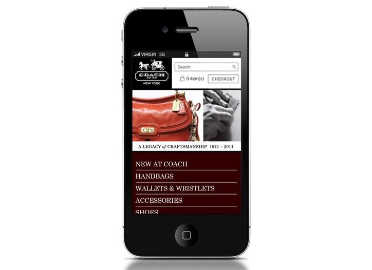 Coach's mobile site.