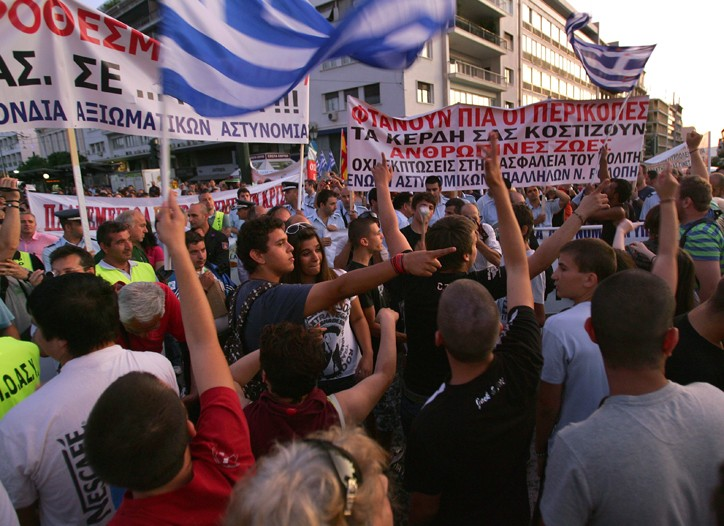 Protesters in Athens Syntagma square.