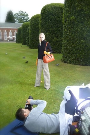 A behind the scenes shot of the fall Jaeger ad campaign shoot.