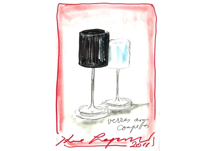 Karl Lagerfeld's sketch of the glasses he designed for Orrefors.