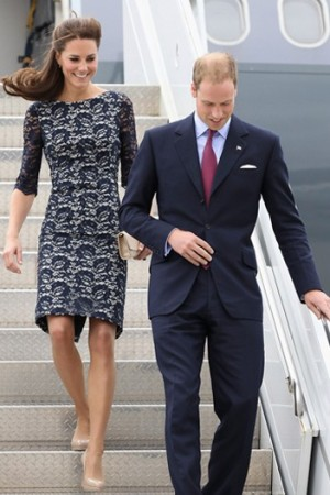 The Duchess of Cambridge in Erdem with Prince William.
