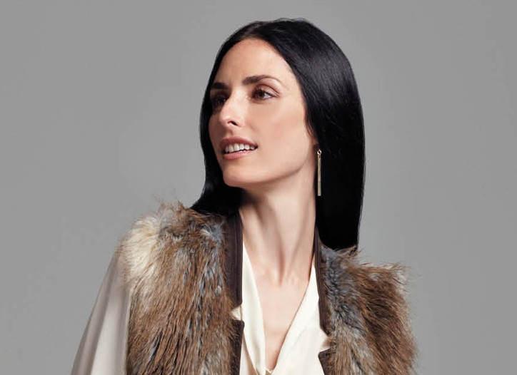 Tie-neck blouse, printed skirt and fur vest for Ellen Tracy exclusively at Macy's.