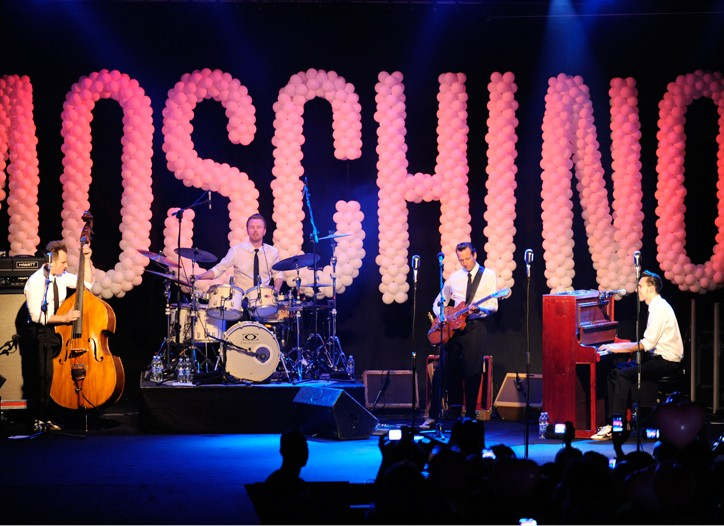 German cover band The Baseballs at the Moschino show.