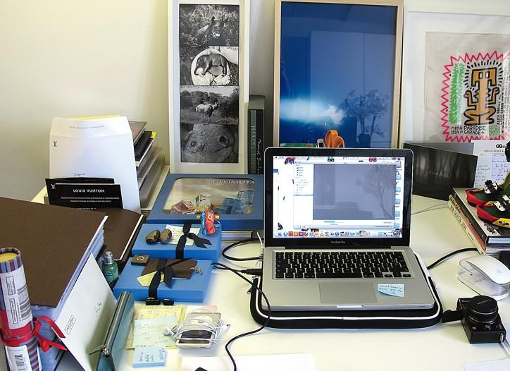 """My desk at Louis Vuitton: surprisingly organized!"" - Kim Jones, Louis Vuitton's new men's style director."