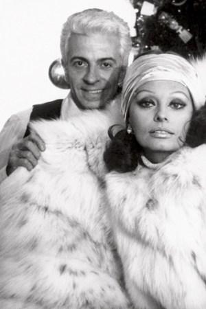 Fur designer Frédéric Castet with Sophia Loren