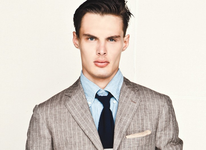 Kiton's linen blazer, Faconnable's cotton shirt and Tween's cotton denim jeans. Closed belt; Church's tie; Tateossian tie bar.