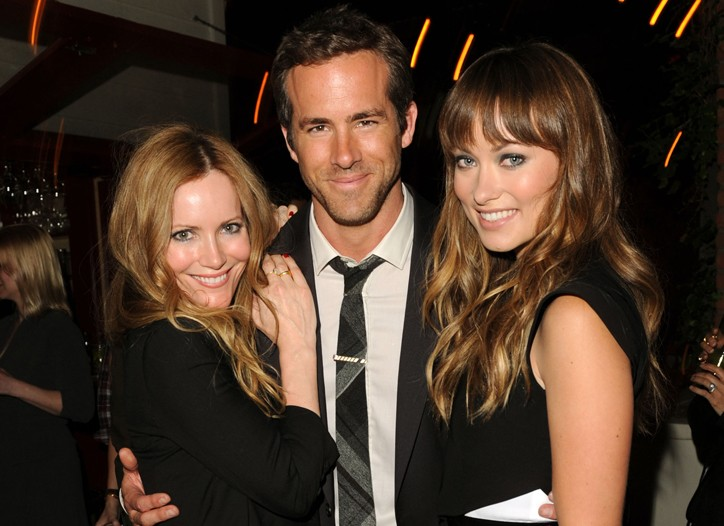 Leslie Mann, Ryan Reynolds in Maison Martin Margiela and Gentry, and Olivia Wilde in Givenchy at the Details party.