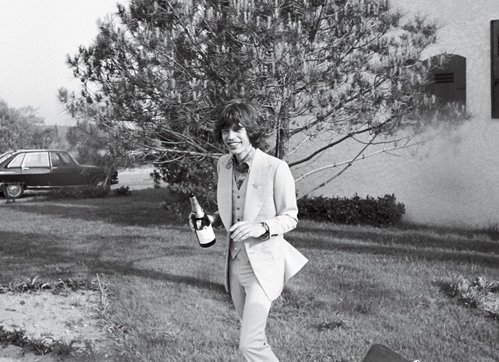 Mick Jagger in his wedding suit.