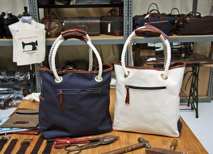 Finished bags at the Ernest Alexander workshop.