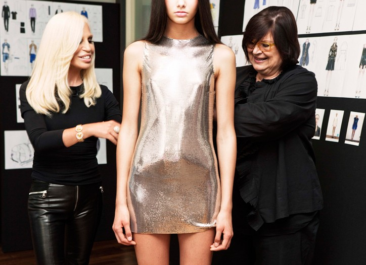 Donatella Versace at work on looks for the H&M collection.