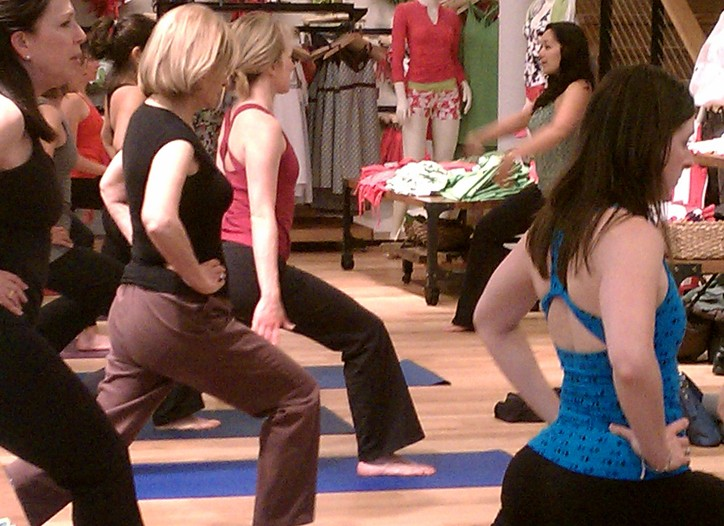A workout class at Athleta in San Francisco.