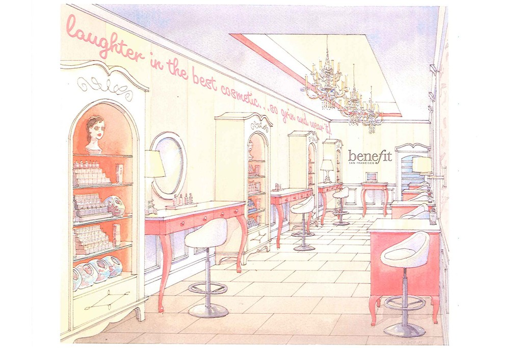 Interior rendering of the Benefit's SoHo space.