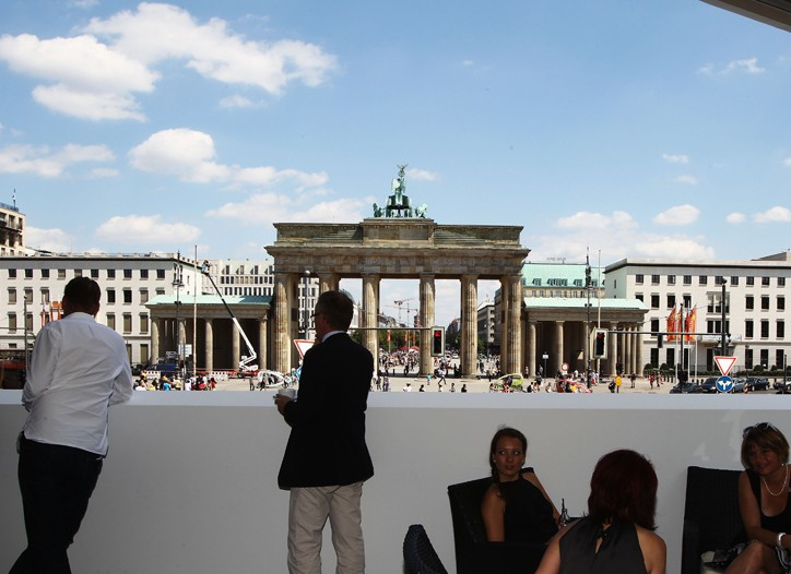 A view of the Brandenburg Gate from the Mercedes-Benz lounge.