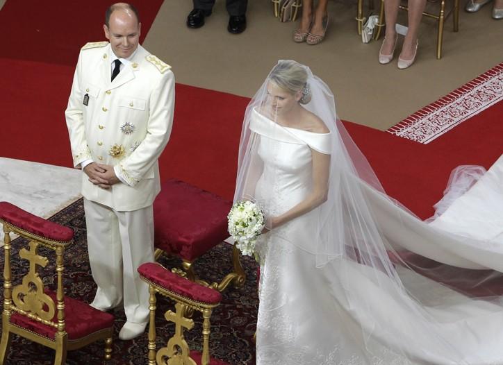Princess Charlene of Monaco and Prince Albert II inside the Sainte Devote church in Monaco