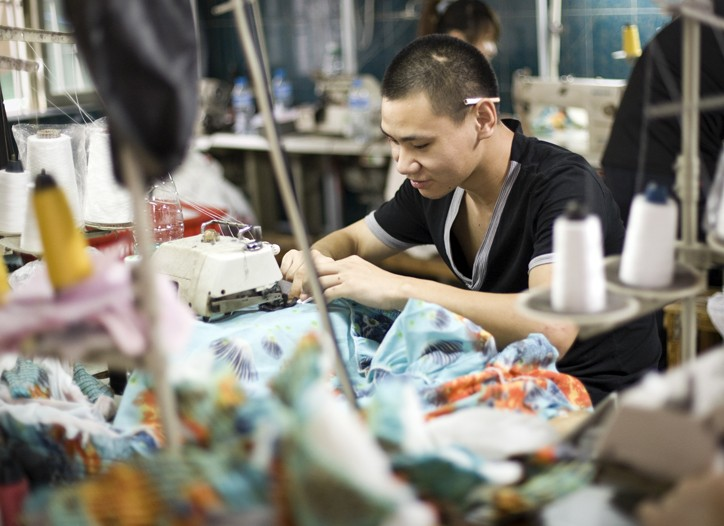 A worker at a small factory in southern China