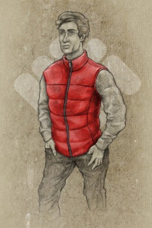 A sketch of the down vest.