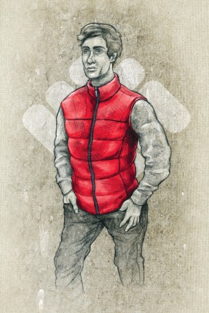 A sketch of a down vest from Columbia Sportswear