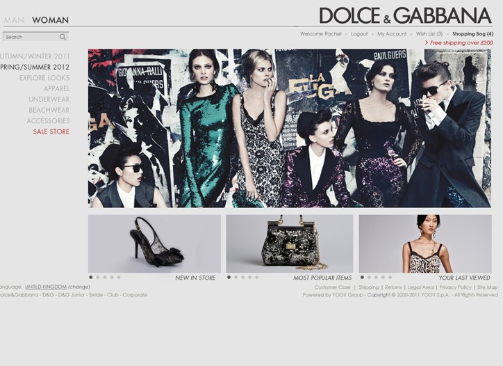 A view of Dolce & Gabbana's online store.