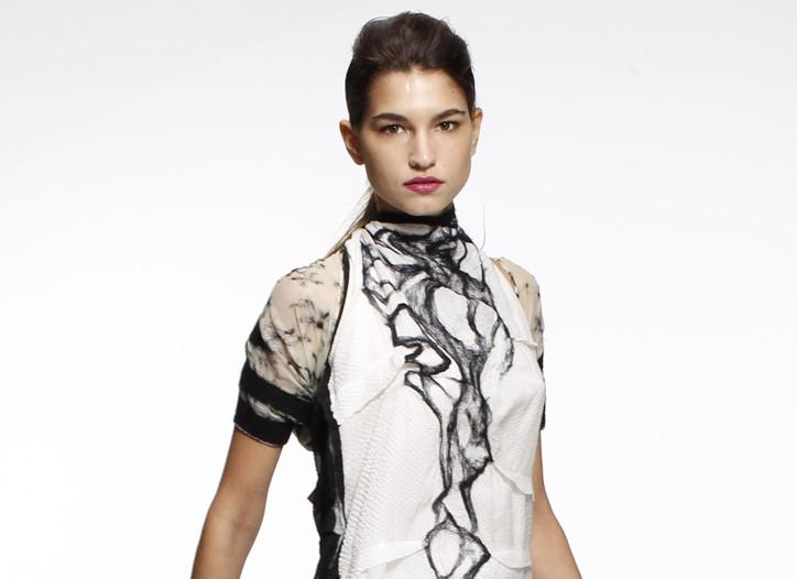 Elizabeth Anyaa's silk chiffon dress with wool felt embellishment.
