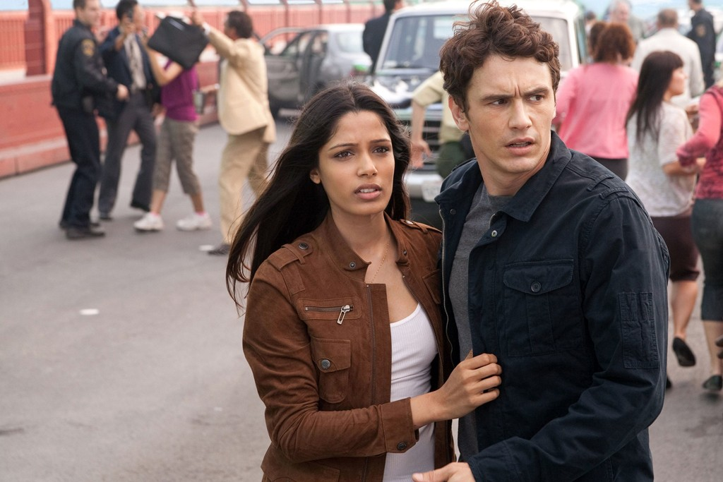 """Freida Pinto with James Franco in """"Rise of the Planet of the Apes."""""""