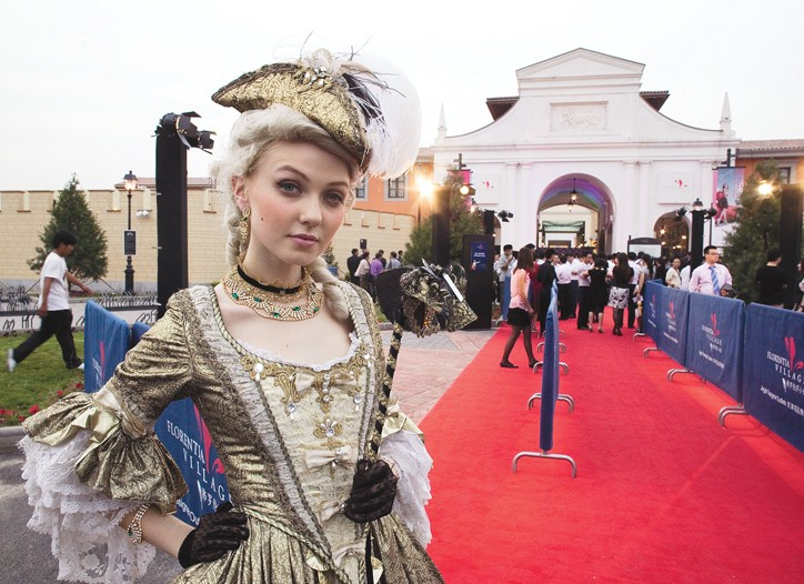 Outside the opening of the first Italian fashion outlet in Tianjin, China.