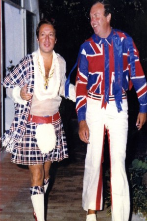 Arnold Scaasi and Parker Ladd en route to a Fourth of July party they hosted in Capri in 1961.