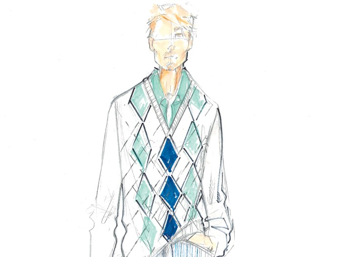 A sketch of the men's Hilfiger golf line.