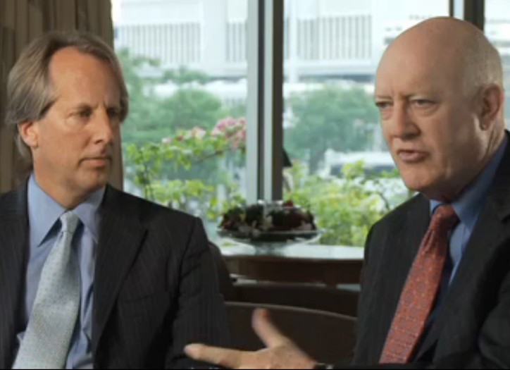 ICANN's Stephen Crocker and Rod Beckstrom in the video discussing the decision.