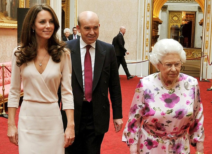 The Duchess of Cambridge in Joseph and Jimmy Choo with Queen Elizabeth II.