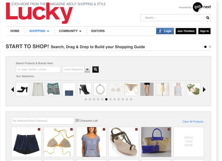 """ThisNext.com and Lucky Magazine's co-branded  """"social shopping"""" Web site."""