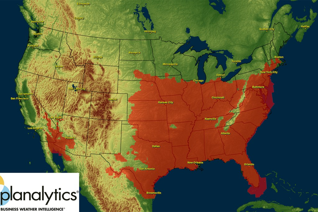 Orange, covering 44 percent of U.S. land area and 61 percent of the population, indicates where the heat index rose above 100 degrees at least one day last weekend.