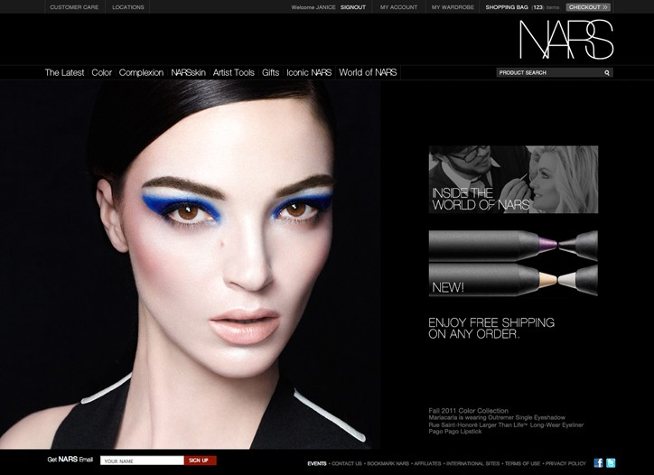 A page from the Nars' Web site.