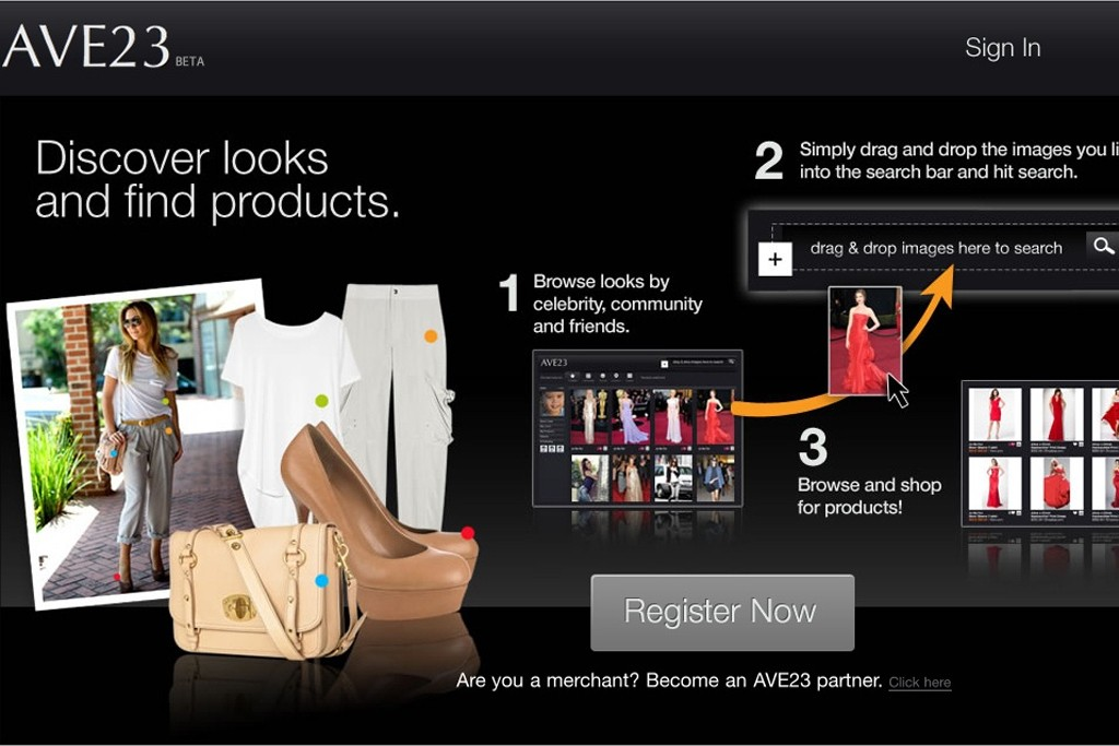 Ave23.com's homepage.