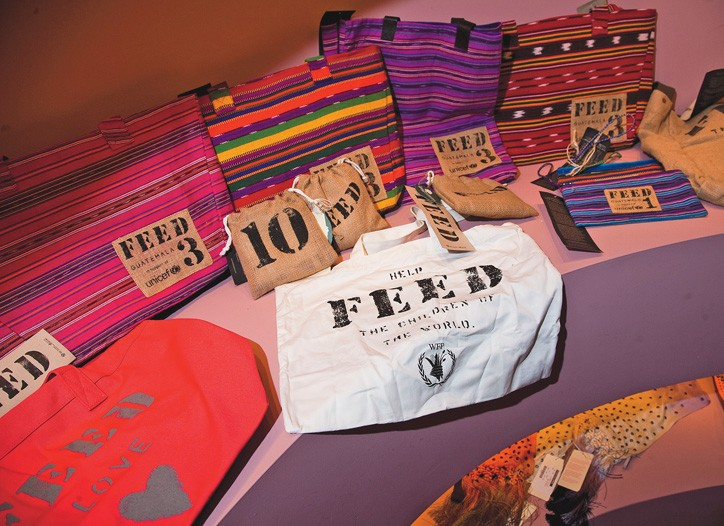 Feed bags on sale at the Matthew Williamson store.