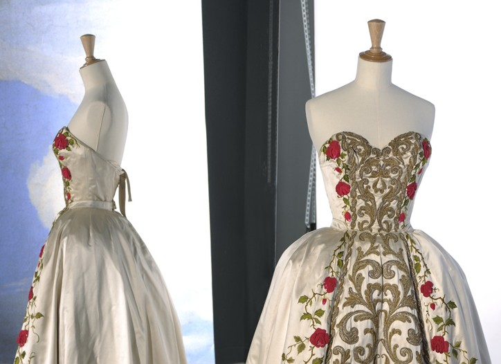 Spring-summer 1954 couture evening gown by Pierre Balmain at the Musée Galliera exhibit.